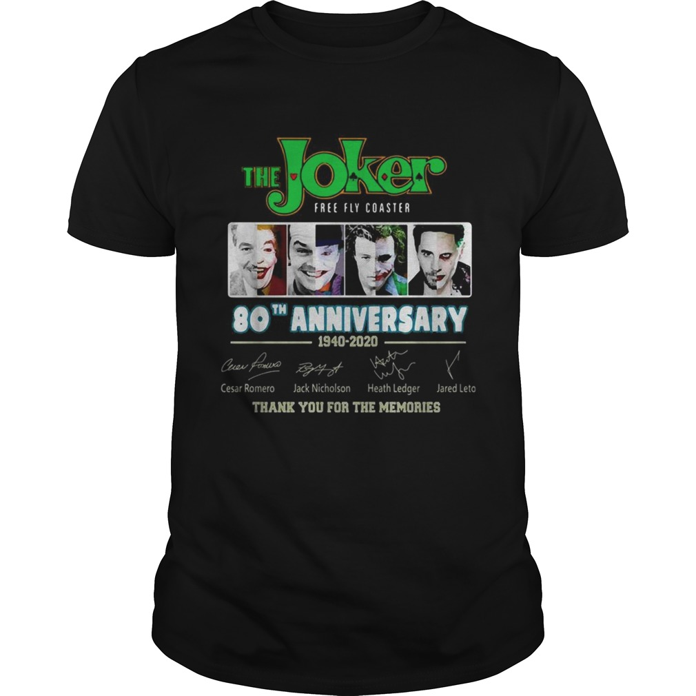 The Joker free fly Coaster 80th anniversary 1940 2020 signatures shirt