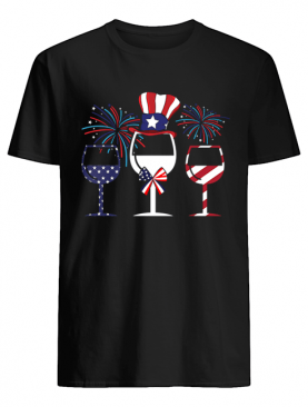 4th Of July American Flag Wine Glass T-Shirt