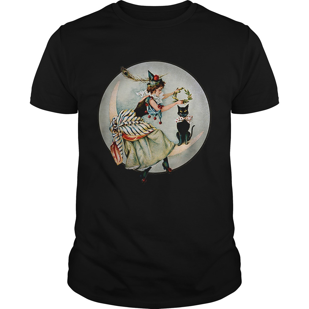 Awesome The Black Cat Magazine Vintage Halloween Woman And Cat shirt