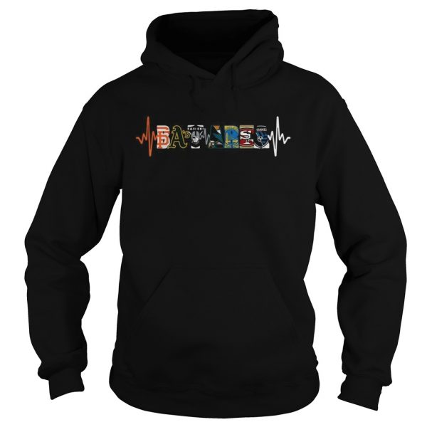 Bay Area sport teams Oakland Athletics Raiders Golden State Warriors heartbeat  Hoodie