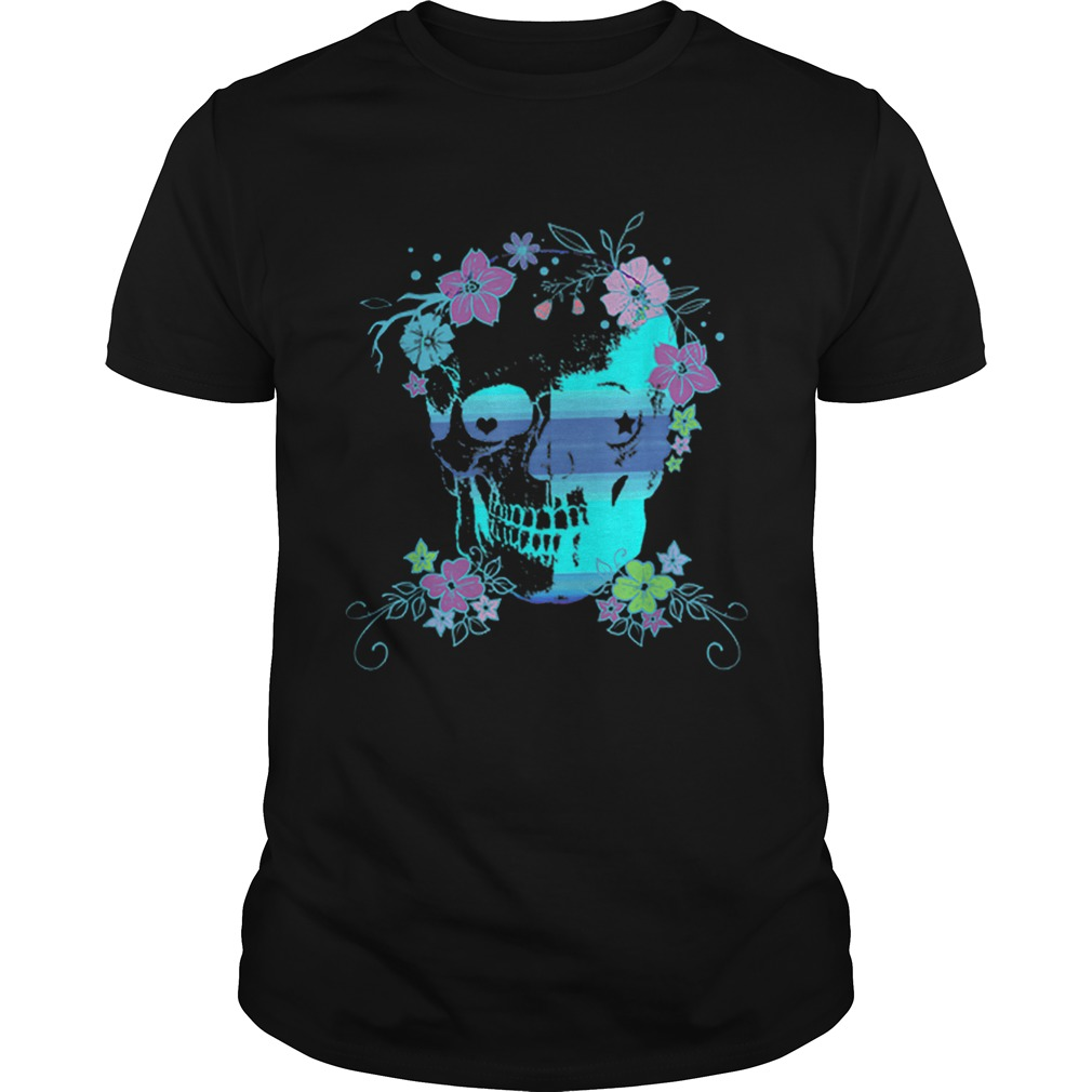 Beautiful Skull and Flowers Halloween Rave Concert shirt