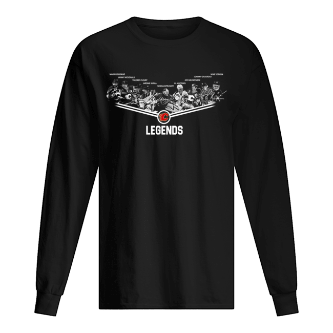Calgary Flames Legends team signature Long Sleeved T-shirt