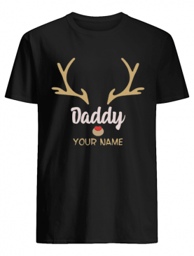 Custom Name Daddy Rudolph Reindeer Family Christmas T-Shirt