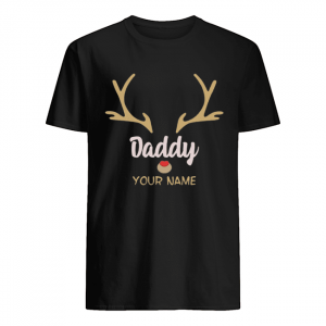 Custom Name Daddy Rudolph Reindeer Family Christmas T-Shirt Classic Men's T-shirt