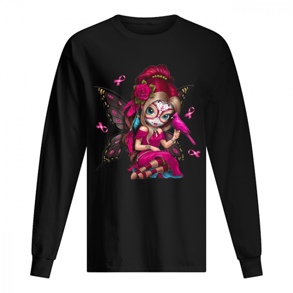 Cute Breast Cancer Girl Sugar Skull Costume Halloween T-Shirt Long Sleeved T-shirt