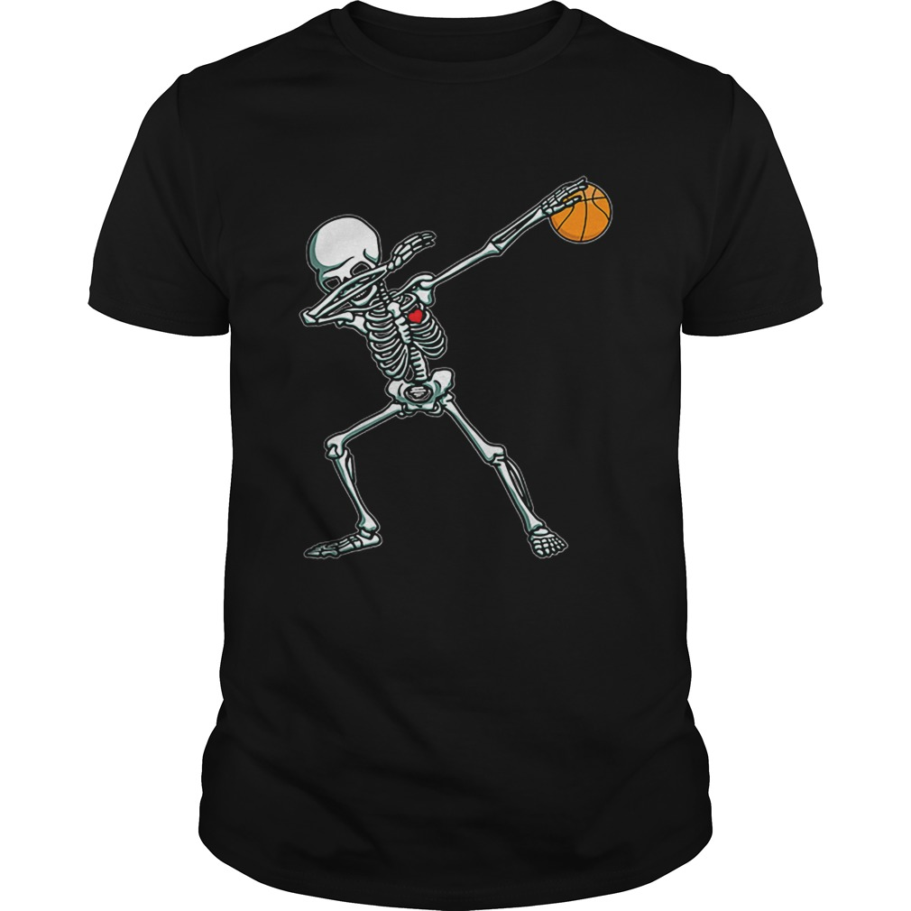 Dabbing Skeleton Basketball Funny Halloween Dab Dance shirt