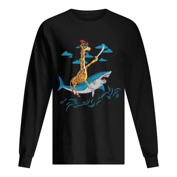 Giraffe Pirate Riding Shark Sword Cute Animal Halloween Gift T-Shirt Long Sleeved T-shirt