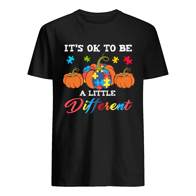 Halloween Autism Pumpkin Itx27s OK to be a little different T Shirt Classic Mens T shirt