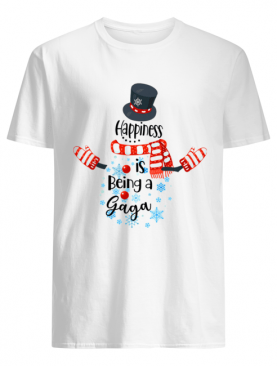 Happiness Is Being A Gaga Snowman Xmas Matching Family T-Shirt