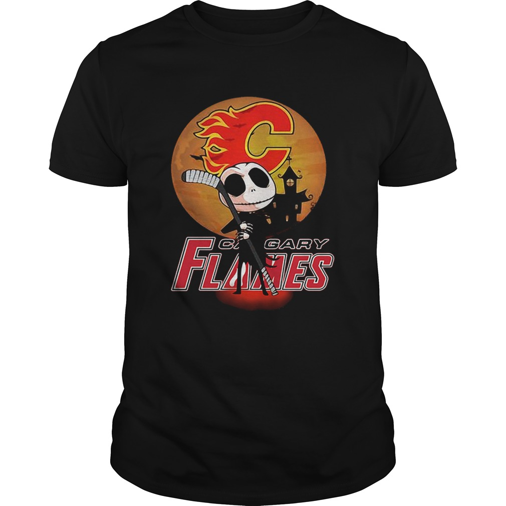 Jack Skellington Holding Hockey Stick Calgary Flames Sunset shirt