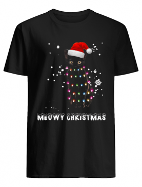 Meowy Christmas Black cat shirt
