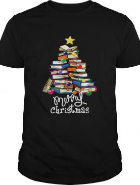 Merry Christmas Tree Love reading books Librarian nerd TShirt