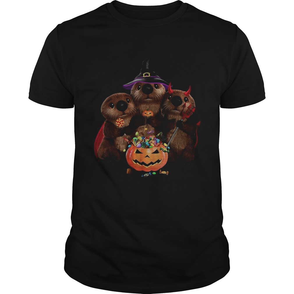Otter witch and Pumpkin Halloween shirt