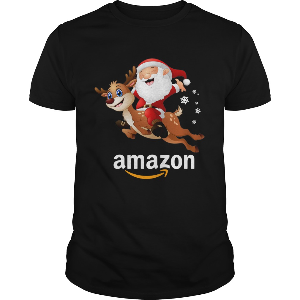 Santa Claus riding reindeer Amazon shirt