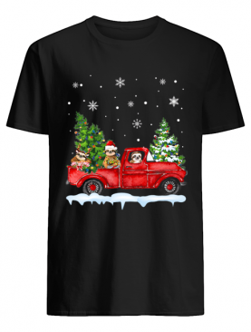 Sloth With Red Truck Christmas Holiday Gift T-Shirt