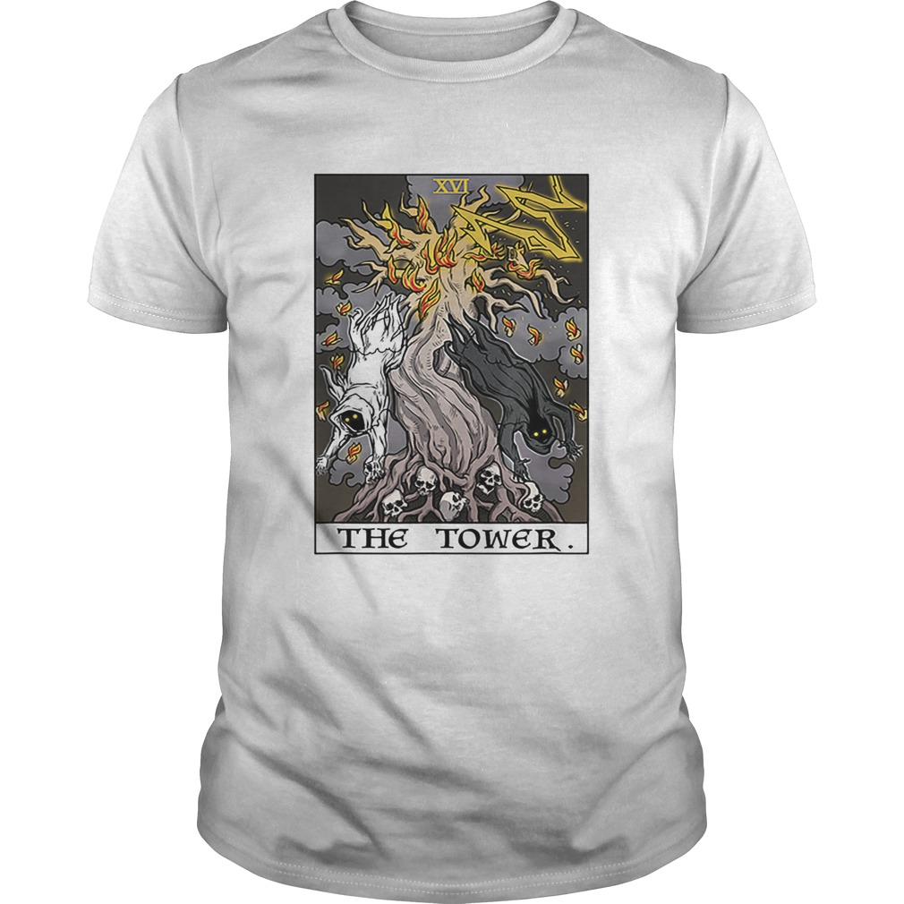 The Tower Tarot Card Halloween Tree of Life Goth Witch Gift shirt
