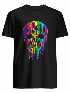 Top Colorful Melting Skull Halloween Kids Art Graphic shirt