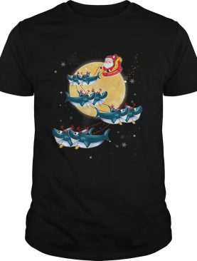 Beautiful Kids Mens Womens Santa Claus Riding Shark Christmas shirt