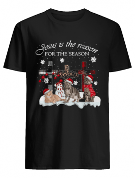 Cats Jesus is the reason for the season Christmas shirt