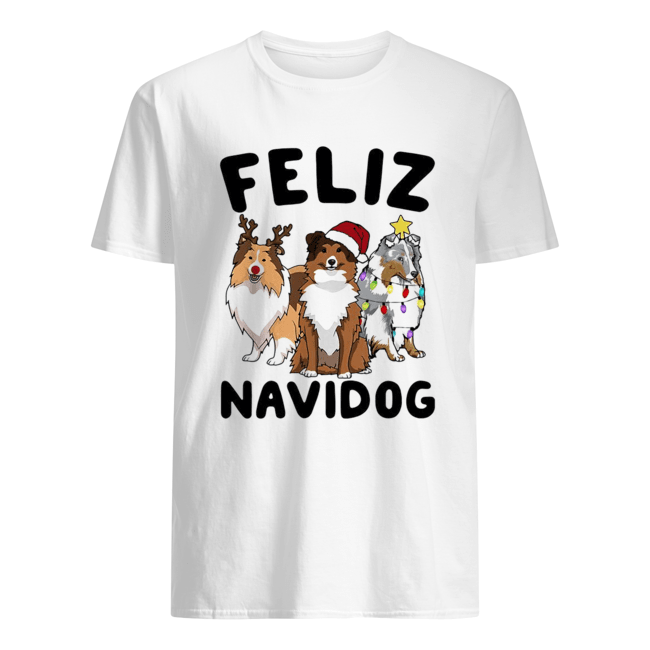 Collie Feliz navidog Christmas  Classic Men's T-shirt