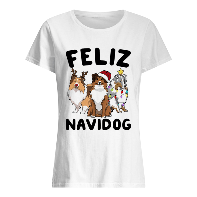 Collie Feliz navidog Christmas  Classic Women's T-shirt