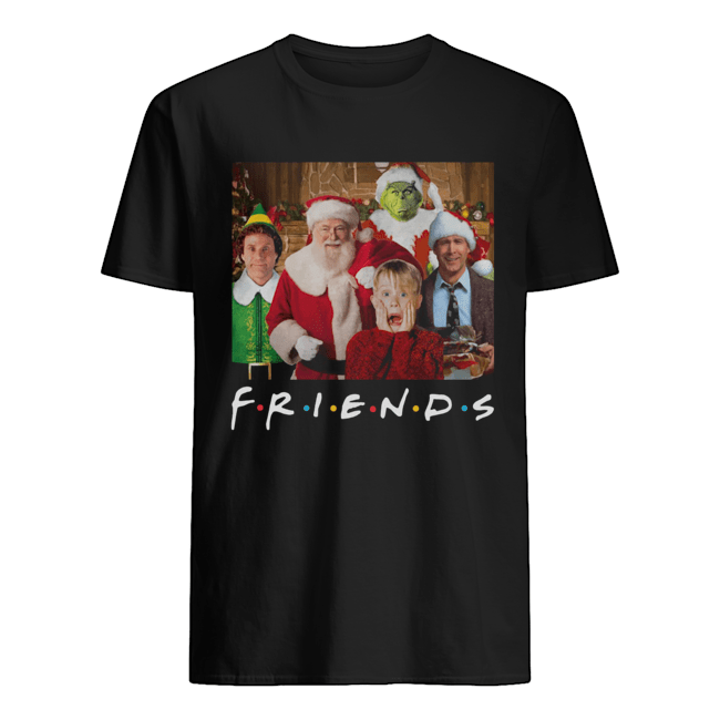 Friends Grinch Elf Santa Clark Griswold Kevin Characters Christmas Classic Mens T shirt