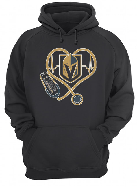 Heartbeat Nurse Love Vegas Golden Knights  Unisex Hoodie