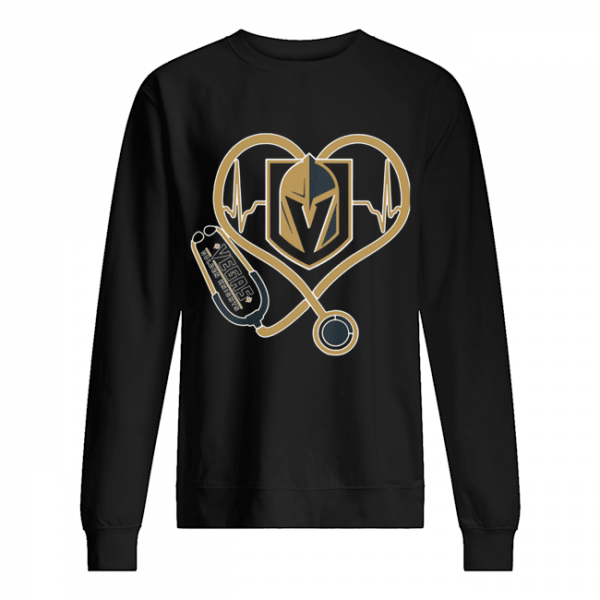Heartbeat Nurse Love Vegas Golden Knights  Unisex Sweatshirt