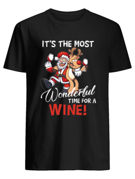 It's The Most Wonderful Time For A Wine Santa Xmas shirt