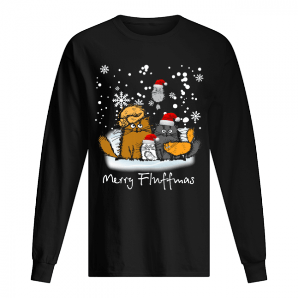 Merry Fluffmas cats funny  Long Sleeved T-shirt