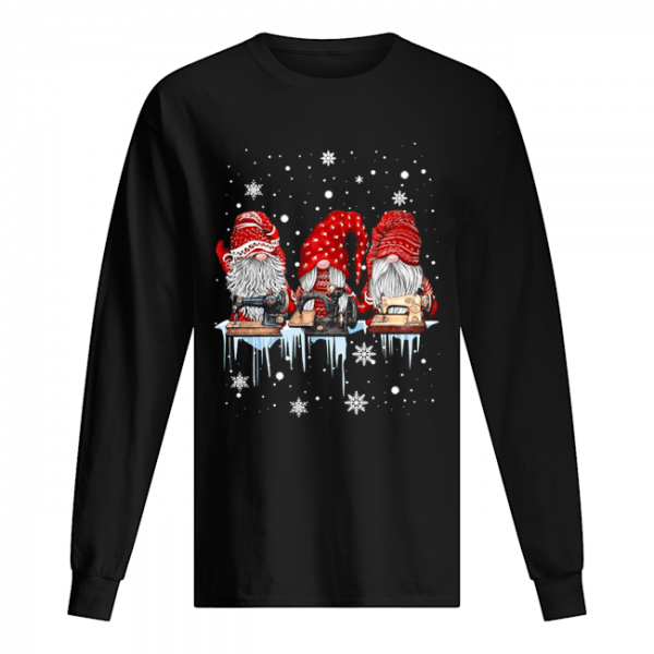 Red Gnome Sewing Christmas  Long Sleeved T-shirt