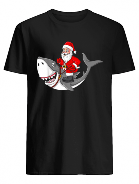 Santa Claus Riding Shark Christmas Boys Girls Xmas shirt