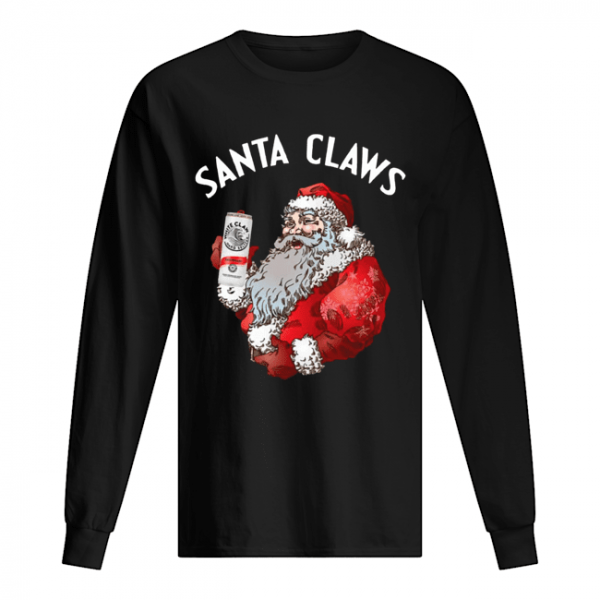 Santa Claws White Claw Christmas Drinking Funny  Long Sleeved T-shirt
