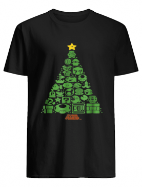 Super Mario Item Characters Christmas Tree Graphic shirt