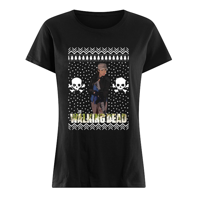 The Walking Dead Rosita Espinosa Santa Hat Christmas  Classic Women's T-shirt