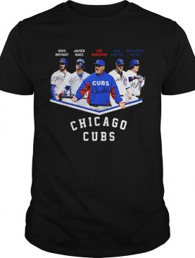 Chicago Cubs Kris Bryant Javier Baez Joe Maddon Jon Lester Anthony Rizzo Signatures shirt