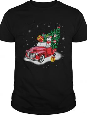 Husky Rides Red Truck Christmas Tree Xmas Gifts shirt