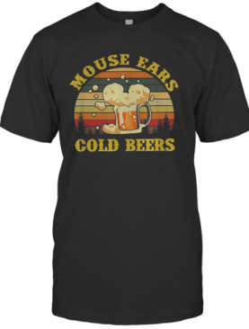 Mouse Ears Cold Beers Drinking Vintage T-Shirt