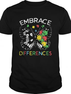 Embrace Differences Autism Butterfly Puzzle Piece shirt