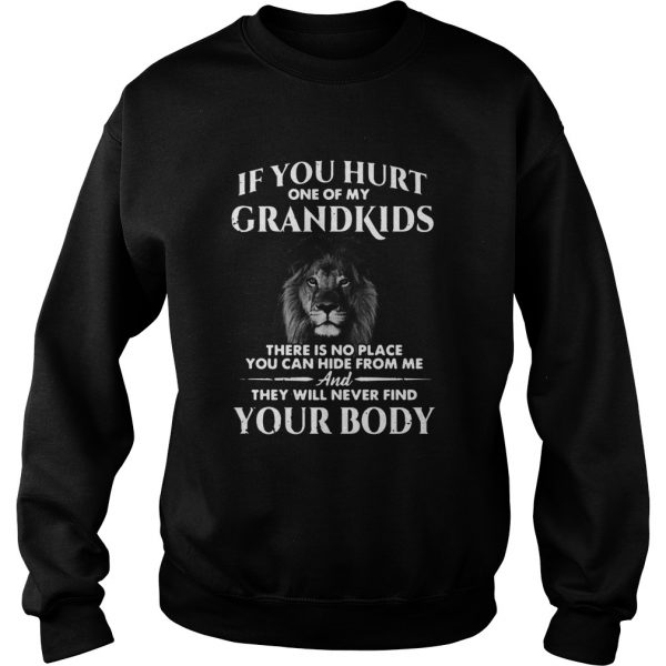 Lion If You Hurt One Of My Grandkids There Is No Place You Can Hide From Me  Sweatshirt