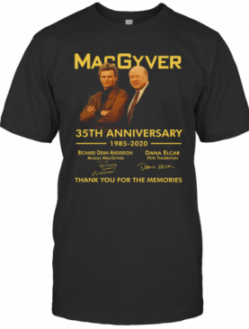 Macgyver 35Th Anniversary Thank You For The Memories Signatures T-Shirt