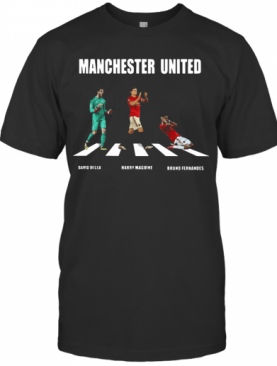 Manchester United Player Abbey Road David Degea Bruno Fernandes T-Shirt