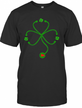 Nice Irish Nurse St Patricks Day Stethoscope Heartbeat T-Shirt
