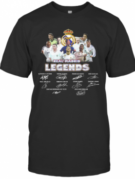 Real Madrid Legends All Team Players Signatures T-Shirt