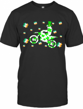 Shamrock Dirt Bike Ireland Flag St Patrick'S Day Biker T-Shirt