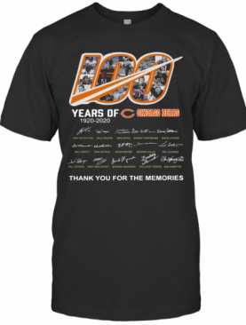 100 Years Of Chicago Bears Thank You For The Memories Signatures T-Shirt