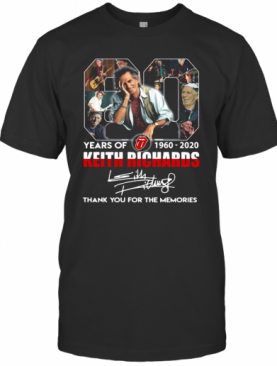 80 Years Of 1960 2020 The Rolling Stones Keith Richard Thank You For The Memories Signatures T-Shirt