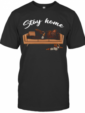 Bigfoot Drinking Beer On Sofa Stay Home T-Shirt