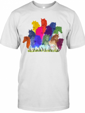 Colorful Horse Watercolor Flower T-Shirt