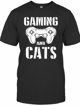 Gaming And Cats Game Control Vintage Video Game Player T-Shirt
